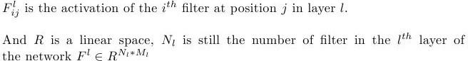 Neural Style formula